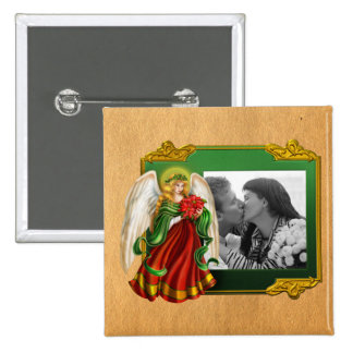 Traditional Christmas Angel 15 Cm Square Badge