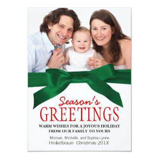 Traditional Christmas Family Photo Red Green 11 Cm X 16 Cm Invitation Card