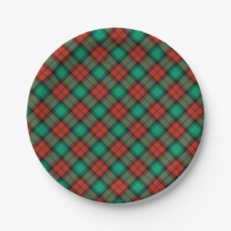 Traditional Christmas Plaid Pattern Paper Plate