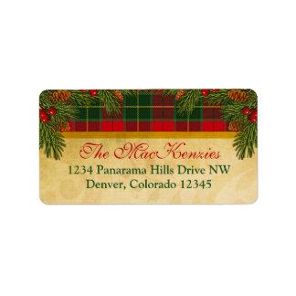 Traditional Christmas Plaid Xmas Return Address Address Label