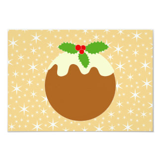 Traditional Christmas Pudding. 9 Cm X 13 Cm Invitation Card