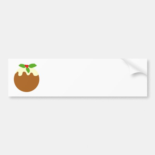 Traditional Christmas Pudding. On White. Bumper Sticker