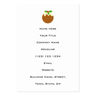 Traditional Christmas Pudding. On White. Business Cards