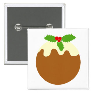 Traditional Christmas Pudding. On White. Buttons