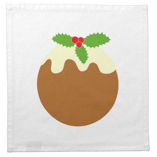 Traditional Christmas Pudding. On White. Napkins