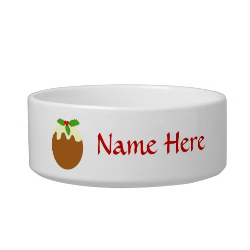 Traditional Christmas Pudding. On White. Cat Food Bowl