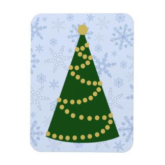 Traditional Christmas Tree on Snowflake Blizzard Rectangular Photo Magnet