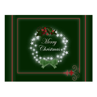 Traditional Christmas Wreath and mistletoe Postcard