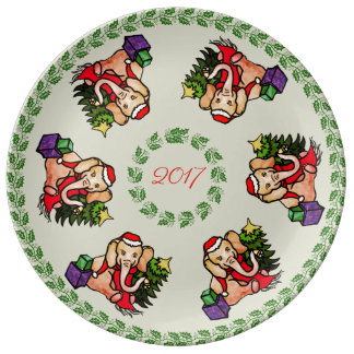 Traditional Cute Santa Christmas Elephant Keepsake Plate