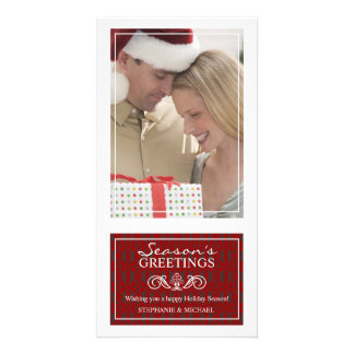 Traditional Elegant Red White Christmas Photo Card