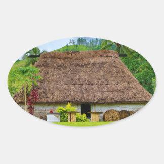 Traditional Fijian Bure, Navala Village, Fiji Oval Sticker