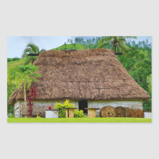 Traditional Fijian Bure, Navala Village, Fiji Rectangular Sticker