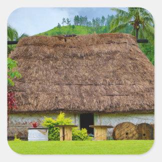Traditional Fijian Bure, Navala Village, Fiji Square Sticker