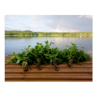 Traditional Finnish bath whisks postcard