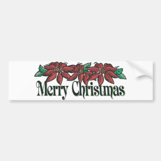 Traditional Flowers Merry Christmas Bumper Sticker