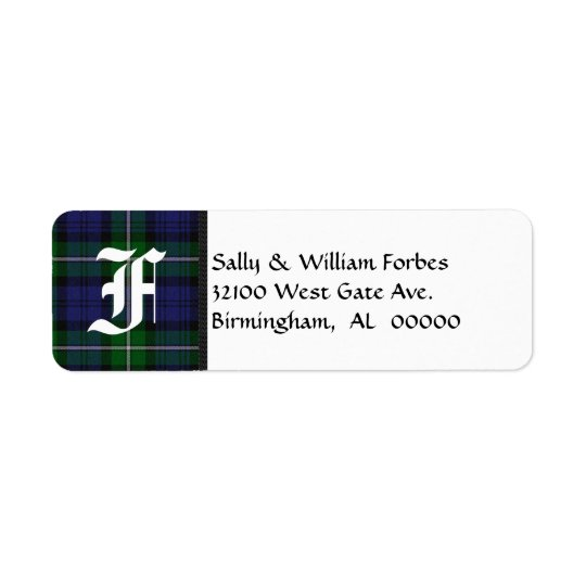 Traditional Forbes Tartan Plaid Monogram Return Address Label