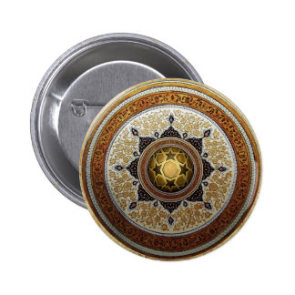 Traditional Geometric & Floral Pattern 6 Cm Round Badge