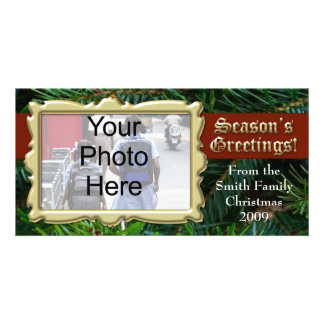 Traditional Gold Seasons Greeting Photo Cards
