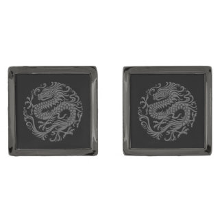 Traditional Gray and Black Chinese Dragon Circle Gunmetal Finish Cuff Links