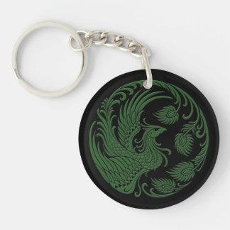 Traditional Green Phoenix Circle Key Ring