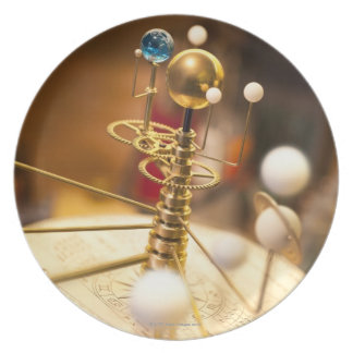 Traditional handcrafted brass orrery with the plate