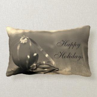 Traditional Happy Holidays design Lumbar Pillow