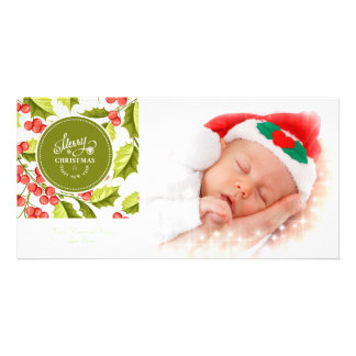 Traditional Holly Design Merry Christmas Photo Photo Cards
