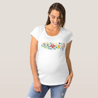Traditional Hungarian flower Embroidery Maternity T-Shirt
