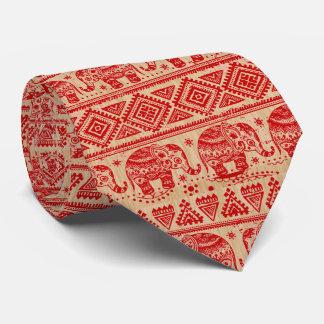 Traditional India Elephant Block Print Design Tie