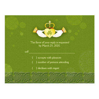 Traditional Irish Green Wedding RSVP Postcard