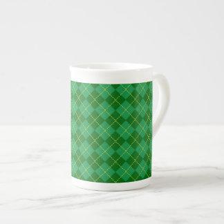 Traditional Irish Plaid Tartan Green Pattern Tea Cup