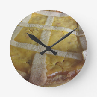 Traditional italian cake Pastiera Napoletana Round Clock