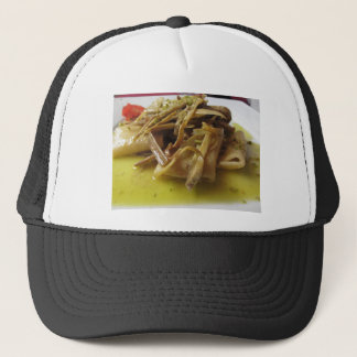 Traditional italian Paccheri pasta with artichokes Trucker Hat