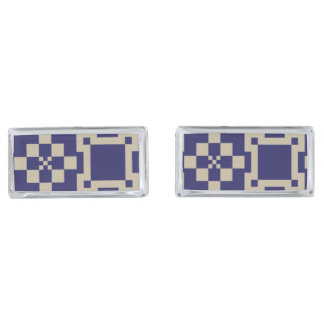 Traditional Japanese Block Patterns Silver Finish Cuff Links