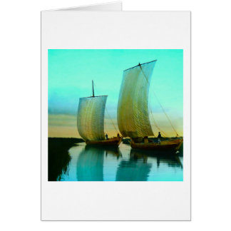 Traditional Japanese Junks Fishing Boats Vintage Card