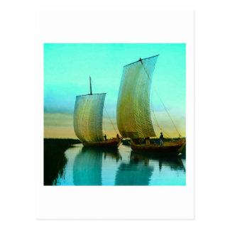 Traditional Japanese Junks Fishing Boats Vintage Postcard
