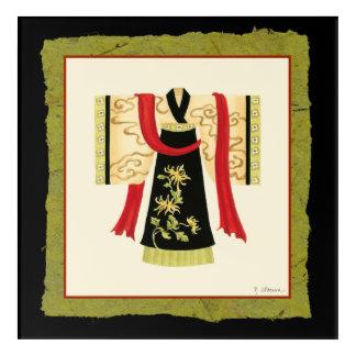 Traditional Japanese Kimono with Floral Print Acrylic Wall Art
