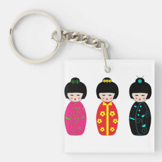 Traditional Japanese Kokeshi Geisha Dolls Key Ring
