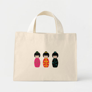 Traditional Japanese Kokeshi Geisha Dolls Mini Tote Bag