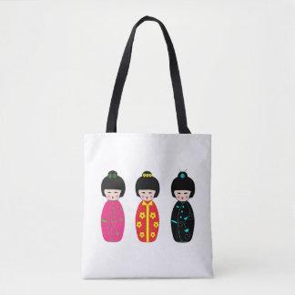 Traditional Japanese Kokeshi Geisha Dolls Tote Bag