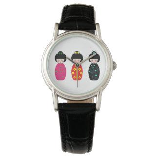 Traditional Japanese Kokeshi Geisha Dolls Watch
