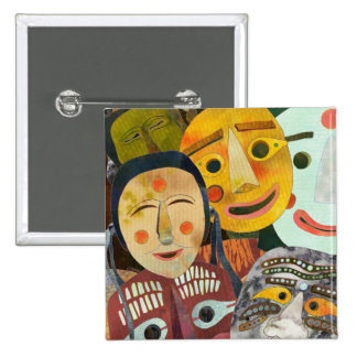 Traditional Korean Masks Button