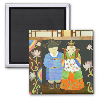 Traditional Korean Wedding: Unique Wedding Gift Square Magnet