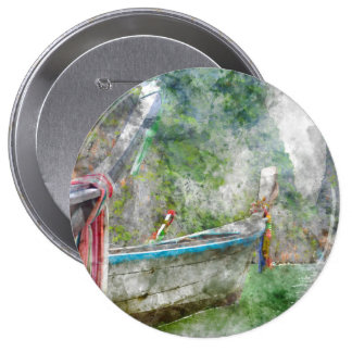 Traditional Long Boat in Thailand 10 Cm Round Badge
