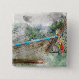 Traditional Long Boat in Thailand 15 Cm Square Badge