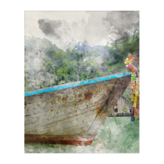 Traditional Long Boat in Thailand Acrylic Wall Art