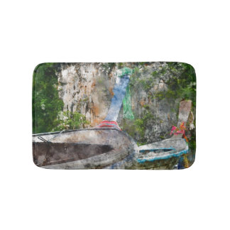 Traditional Long Boat in Thailand Bath Mat