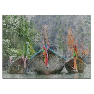 Traditional Long Boat in Thailand Cutting Board