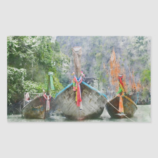 Traditional Long Boat in Thailand Rectangular Sticker