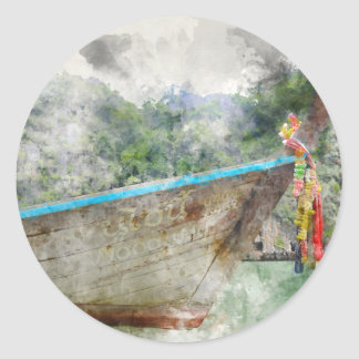 Traditional Long Boat in Thailand Round Sticker